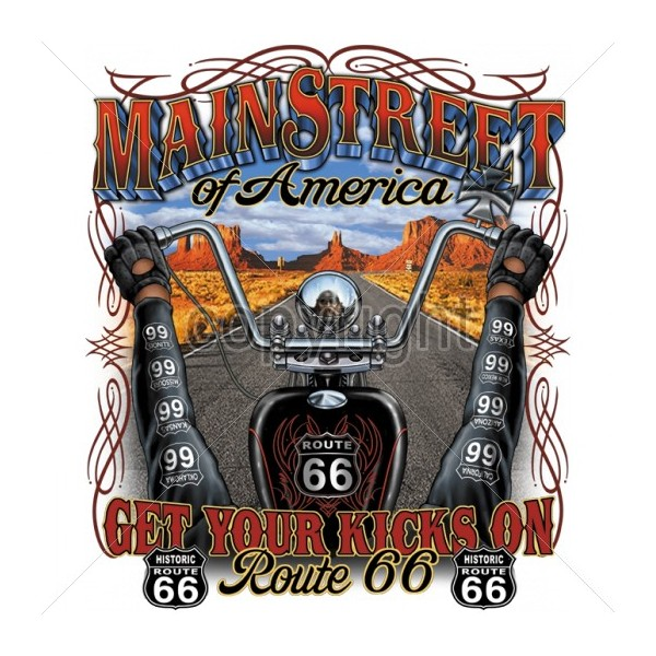 dessins transfert biker main street of america route 66 get your kicks on route 66 n 15203. Black Bedroom Furniture Sets. Home Design Ideas